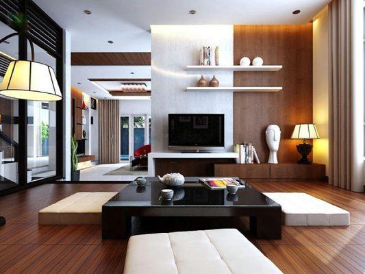 Thiết kế phòng khách kiểu Nhật ấn tượng
