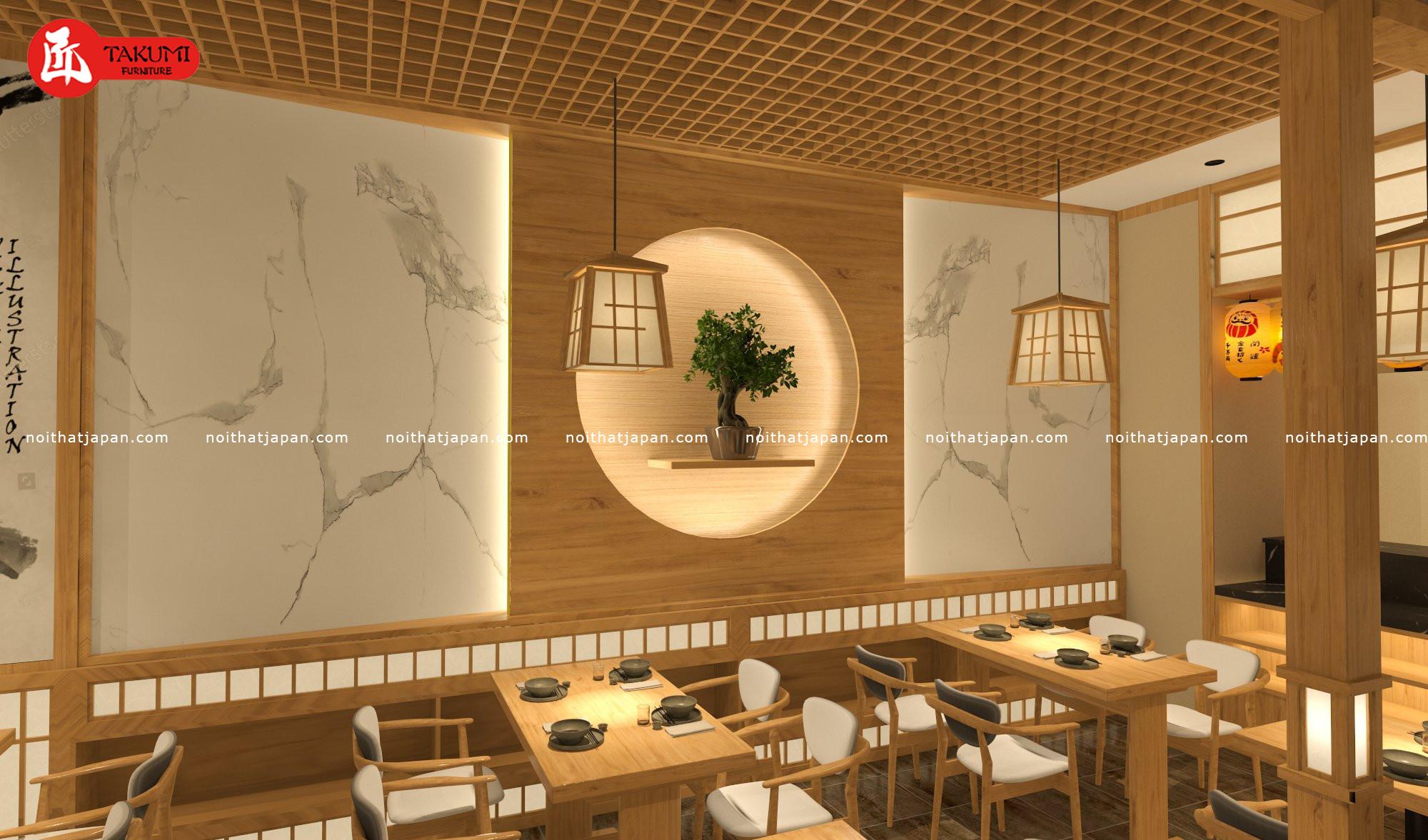 Phòng ăn chung sang trọng thiết kế nhà hàng Nhật